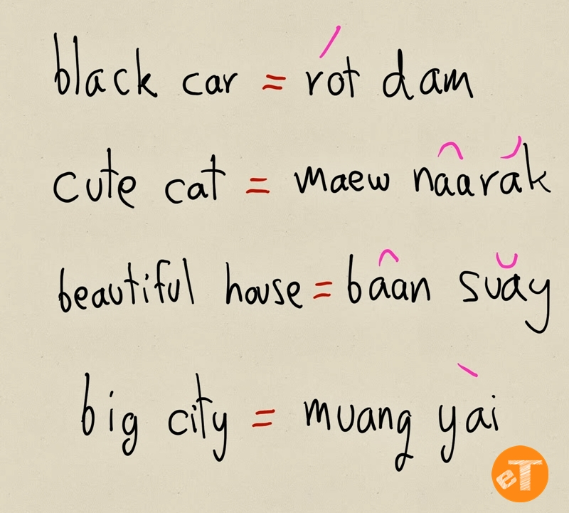 Thai Adjective Language Structure Example eThaier